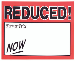 "Large Paper ""Reduced   NOW"" Store Message Signs (50Pcs/Pack)- 7""W x 5 1/2""L"