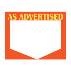"Large Paper ""AS ADVERTISED"" Store Message Signs (50Pcs/Pack)- 7""W x 5 1/2""L"