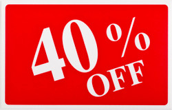 "Plastic ""40% OFF"" Store Message Sign 11""W x 7""L"