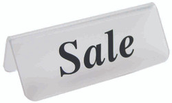 "Frosted Acrylic Black ""Sale"" Print Showcase/Showroom Sign - 3"" x 1 1/4""H"