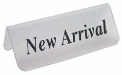 "Frosted Acrylic Black ""New Arrival"" Print Showcase/Showroom Sign - 3"" x 1 1/4""H"