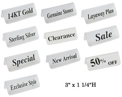 """Frosted Acrylic Red """"14KT Gold"""" Print Showcase/Showroom Sign - 3"""" x 1 1/4""""H"""