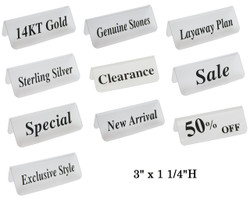 """Frosted Acrylic Red """"New Arrival"""" Print Showcase/Showroom Sign - 3"""" x 1 1/4""""H"""