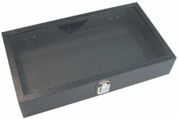 "Large Deep Clear Glass Top Lid with Metal Claps Display Tray - 14 3/4"" x 8 1/4"" x 2 5/8""H"