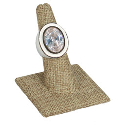 Burlap Fabric Single Ring Jewelry Stand with Square Base