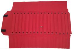 """Black/Red Deluxe Velvet Jewelry Rolls - 16 Ring Tubes - 23 1/2"""" x 9 1/4"""""""