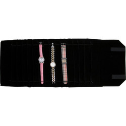 Black Deluxe Velvet Jewelry Rolls - 20 Sections (Watch/Bracelet)