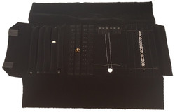 Black Deluxe Velvet Jewelry Rolls - Combination