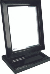 Black Wood Frame Mirror with small tray on Base.