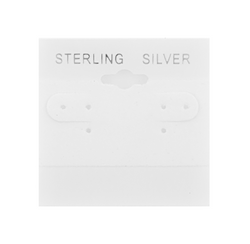 """Sterling Silver"" Silver Font Printed White Hanging Earring Cards - 2"" x 2"""