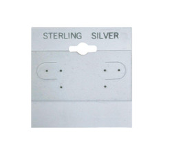 """Sterling Silver"" Silver Font Printed Grey Hanging Earring Cards - 2"" x 2"""