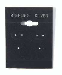 """Sterling Silver"" Silver Font Printed Black Hanging Earring Cards - 1 1/2"" x 2"""