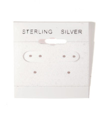 """Sterling Silver"" Silver Font Printed White Hanging Earring Cards - 1 1/2"" x 1 1/2"""