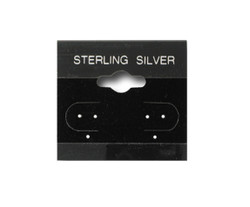 """Sterling Silver"" Silver Font Printed Black Hanging Earring Cards - 1 1/2"" x 1 1/2"""