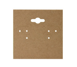 "Kraft Plain Hanging Earring Cards - 2"" x 2"""
