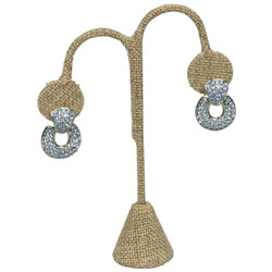 "Burlap Fabric Single Earring Display Tear Drop Shape 6 1/4""H"