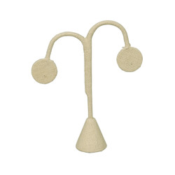 "Beige Linen Single Earring Display Tear Drop Shape 6 1/4""H"