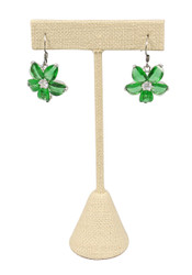 "Beige Linen Single Earring T-Stand 5 3/4""H Display"