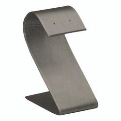 "Steel Grey Single Tall Slim Curved Earring Display 3 1/2""H"