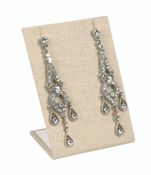 Beige Linen Single Rectangular Earring Display