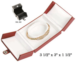 Black/Black Bangle/Watch Snap-Tab Leatherette Box