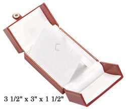 Red Large Pendant Snap-Tab Leatherette Box