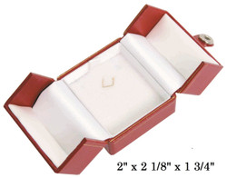 Red Small Pendant Snap-Tab Leatherette Box