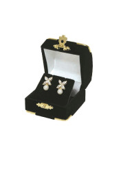 Black Earring Flocked Velvet Clasped Box