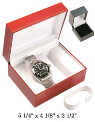 Black Double Watch with White inner Satin Classic Leatherette Box
