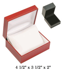 Black Small Watch w/Pillow Black satin interior classic Leatherette gift Box
