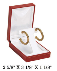 Red T-Shape Earring w/White Satin interior Classic Leatherette Box
