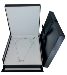 Exquisite Textured Black Necklace Gift Box with Pre-tied Ribbon