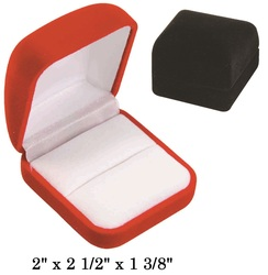 Soft Flocked Black Velour Large Ring Gift Box