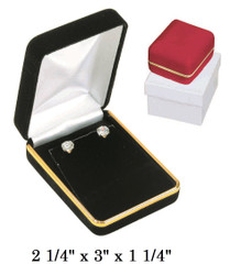 Red Velvet Metal Pendant/Earring (w/Flap) Jewelry Gift Box with Brass Trim