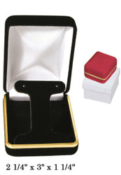 Classic Red Velvet Metal T-Shape Earring Gift Box with Brass Trim