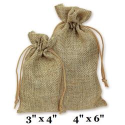 "Natural Burlap Fabric Drawstring Bags - 12Bags/Pk (4"" x 6"")"