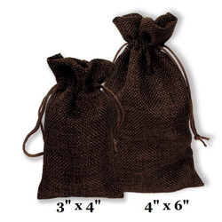 "Brown Burlap Fabric Drawstring Bags - 12Bags/Pk (3"" x 4"")"