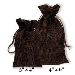 """Brown Burlap Fabric Drawstring Bags - 12Bags/Pk (3"""" x 4"""")"""