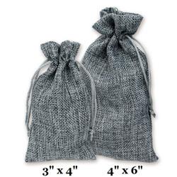 """Grey Burlap Fabric Drawstring Bags - 12Bags/Pk (3"""" x 4"""")"""