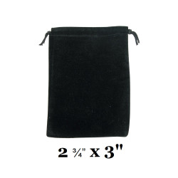 """Black Ultra-Soft Velvet Drawstring Bags - 12 Bags/Pk (2 3/4"""" x 3""""H)"""