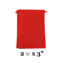 """Red Ultra-Soft Velvet Drawstring Bags - 12 Bags/Pk (2 3/4"""" x 3""""H)"""