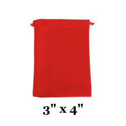 """Red Ultra-Soft Velvet Drawstring Bags - 12 Bags/Pk (3"""" x 4""""H)"""