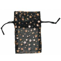 "Black w/Gold Stars Organza Bags - 12 Bags/Pack (5""W x 6""H)"