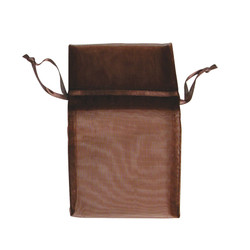"Chestnut Brown Organza Bags - 12 Bags/Pack (5""W x 6""H)"