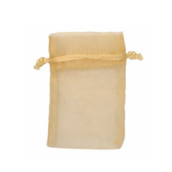 "Gold Tone Organza Bags - 12 Bags/Pack (4""W x 5""H)"