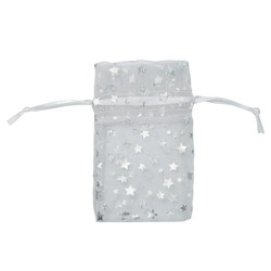 "White w/Silver Stars Organza Bags - 12 Bags/Pack (4""W x 5""H)"