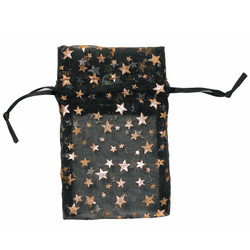 "Black w/Gold Stars Organza Bags - 12 Bags/Pack (3""W x 4""H)"