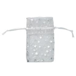 "White w/Silver Stars Organza Bags - 12 Bags/Pack (2 3/4""W x 3""H)"