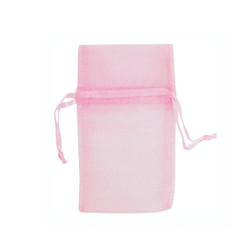 "Light Pink Organza Bags - 12 Bags/Pack (1 3/4""W x 2""H)"