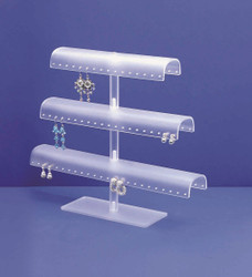 Acrylic 3 Tier Earring/Bangle Display White Frosted